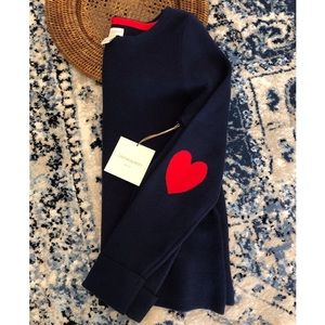 CYNTHIA ROWLEY Navy & Red Heart Elbow Sweater, L